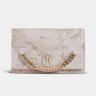 Alviero Martini 義大利地圖包 粉嫩晨曦 鍊帶裝飾手拿側揹兩用包-地圖粉