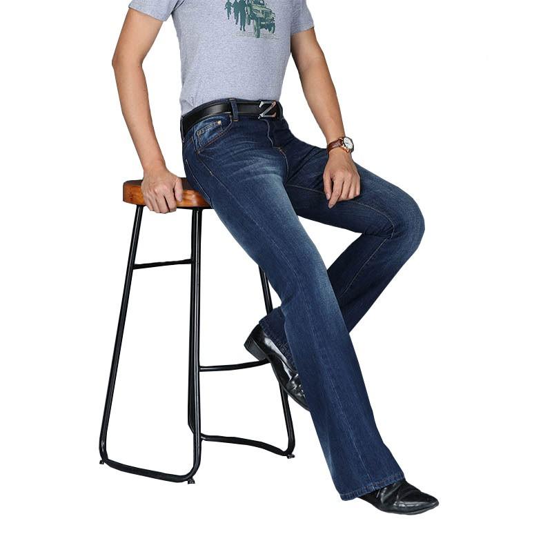 男士牛仔褲 時尚大喇叭牛仔褲 經典剪裁寬鬆中腰男設計師經典藍色牛仔褲
