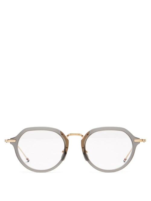 Thom Browne - Round Acetate And Titanium Glasses - Mens - Grey