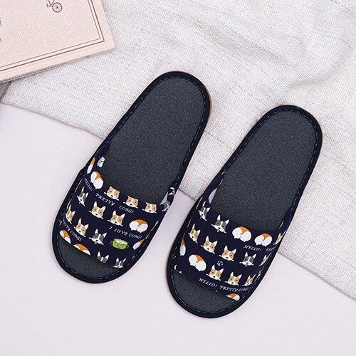 【618購物節 最低五折起】超Q賣萌柯基室內布拖鞋 96043-深藍L