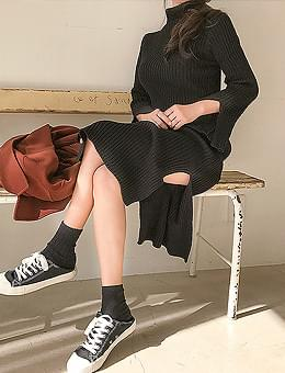 韓國空運 - Milk Turtleneck Turtleneck Knitwear Split Long Dress 長洋裝