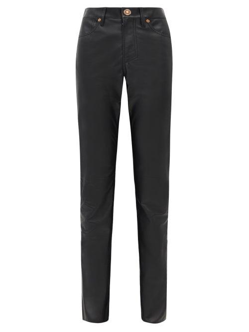Gabriela Hearst - Charles Leather Slim-leg Trousers - Womens - Black