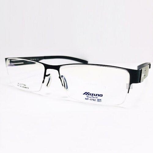 【MIZUNO】美津濃 鈦金屬 光學眼鏡鏡框 MF-1752 C05 無螺絲 半框 長方形鏡框 黑 57mm