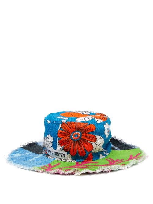 Rave Review - Hola Upcycled Printed Cotton-terry Bucket Hat - Womens - Multi