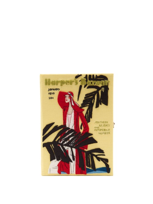 Olympia Le-tan - Harper's Bazaar Appliqué Canvas Book Clutch - Womens - Yellow Multi