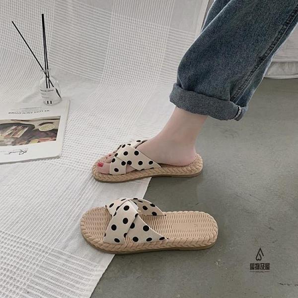 涼拖鞋女外穿夏天時尚百搭懶人平底沙灘鞋【愛物及屋】