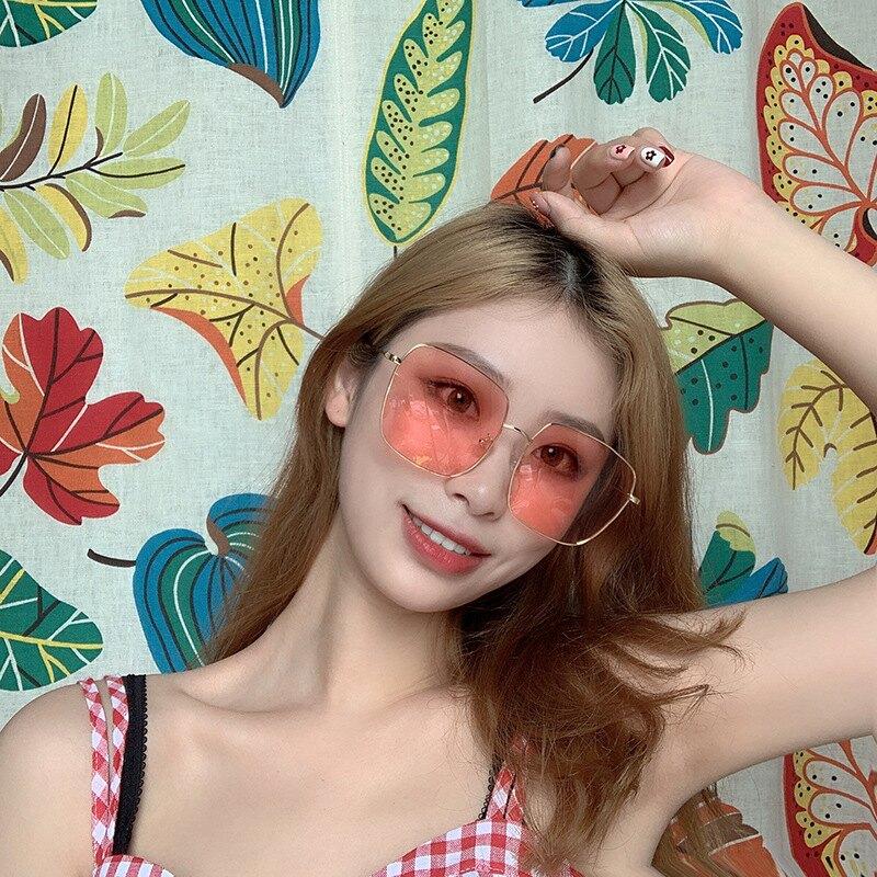 偏光太陽鏡  潮流大方框  透明粉色防紫外線駕駛墨鏡