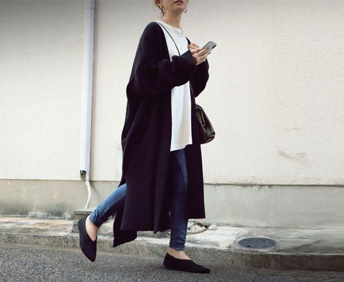 日本 全新 ANTIQUA 黑色 連身 長版 外套 超長版 黑 日本代購 JAPAN