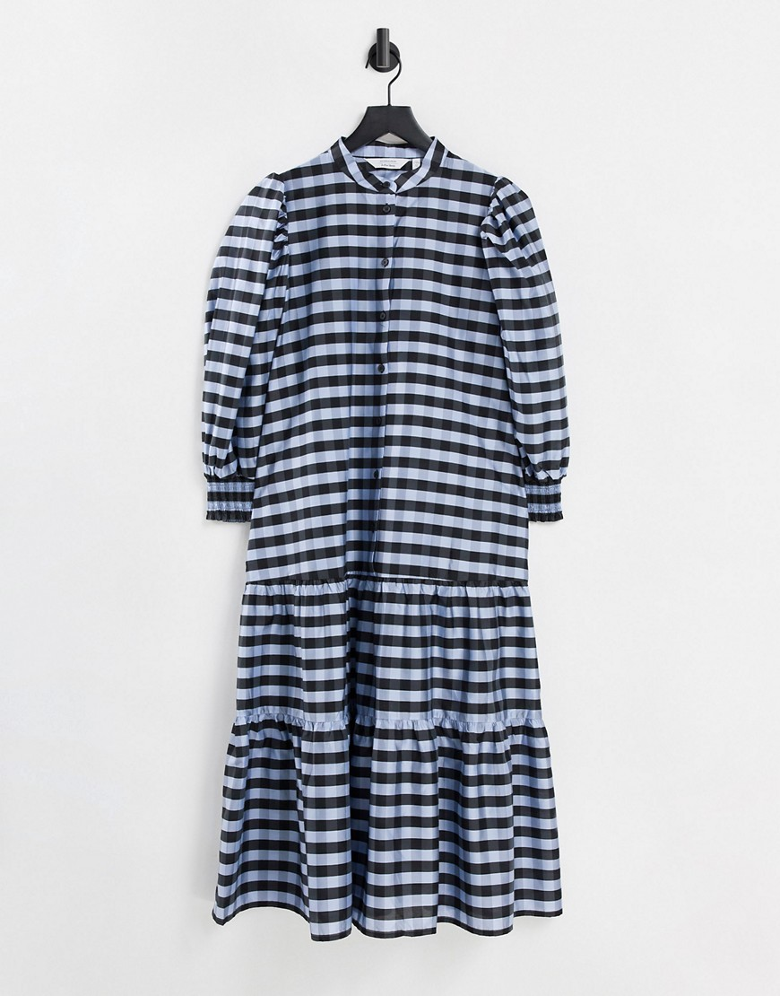 & Other Stories puff sleeve midi smock dress with tie neck in black check