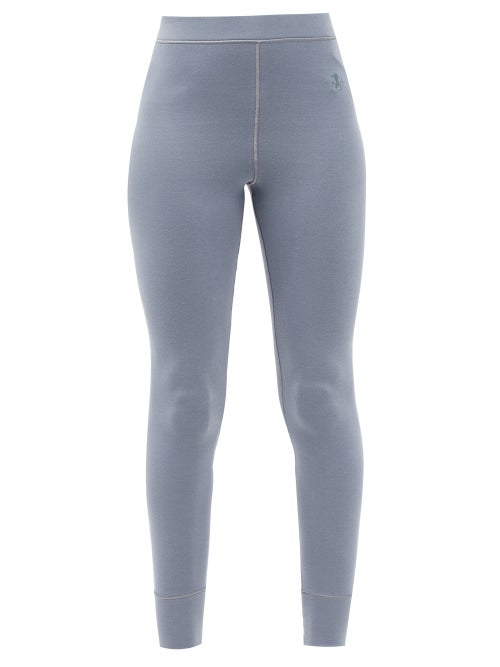 Jil Sander - Logo-embroidered High-rise Cotton-jersey Leggings - Womens - Light Blue