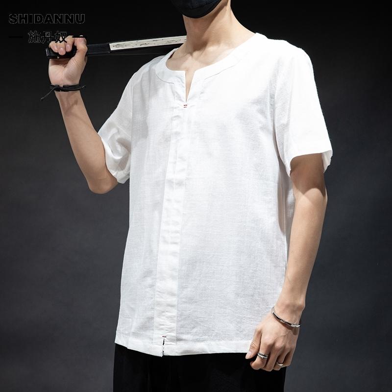 純色短袖T恤 M-5XL 中國風素色簡約V領短袖TEE 舒適透氣高品質棉麻上衣 百搭唐裝 漢服 茶服 男生衣著