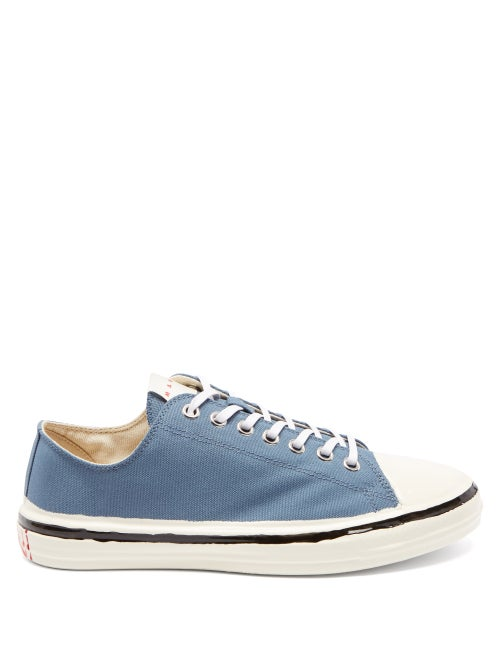 Marni - Gooey Hand-painted Canvas Trainers - Mens - Blue White