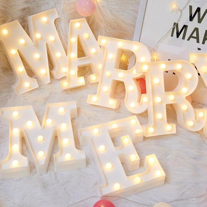 字母燈 數字燈 LED造型燈 求婚 慶生 派對 告白 婚禮佈置 夜燈 裝飾燈 情人節 拍攝道具【葉子小舖】