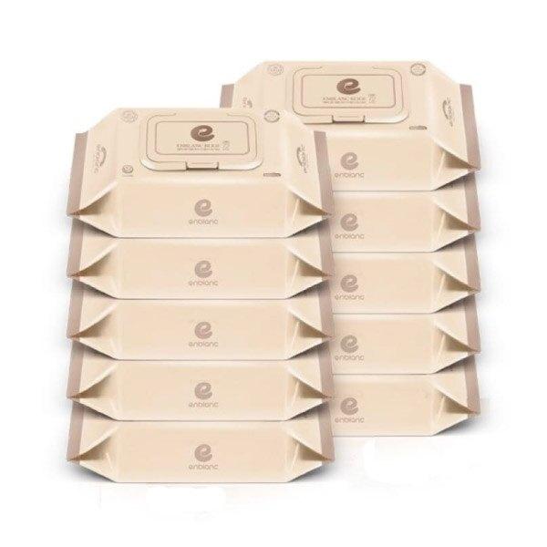 韓國 Enblanc 銀離子輕柔純水有蓋大包濕紙巾-松針萃取物72抽10入|箱購