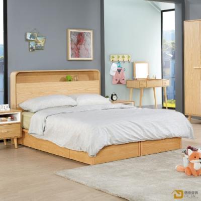 D&T 德泰傢俱 SUN簡約無印風6尺雙人床組 寬182X深203X高106.5(公分)