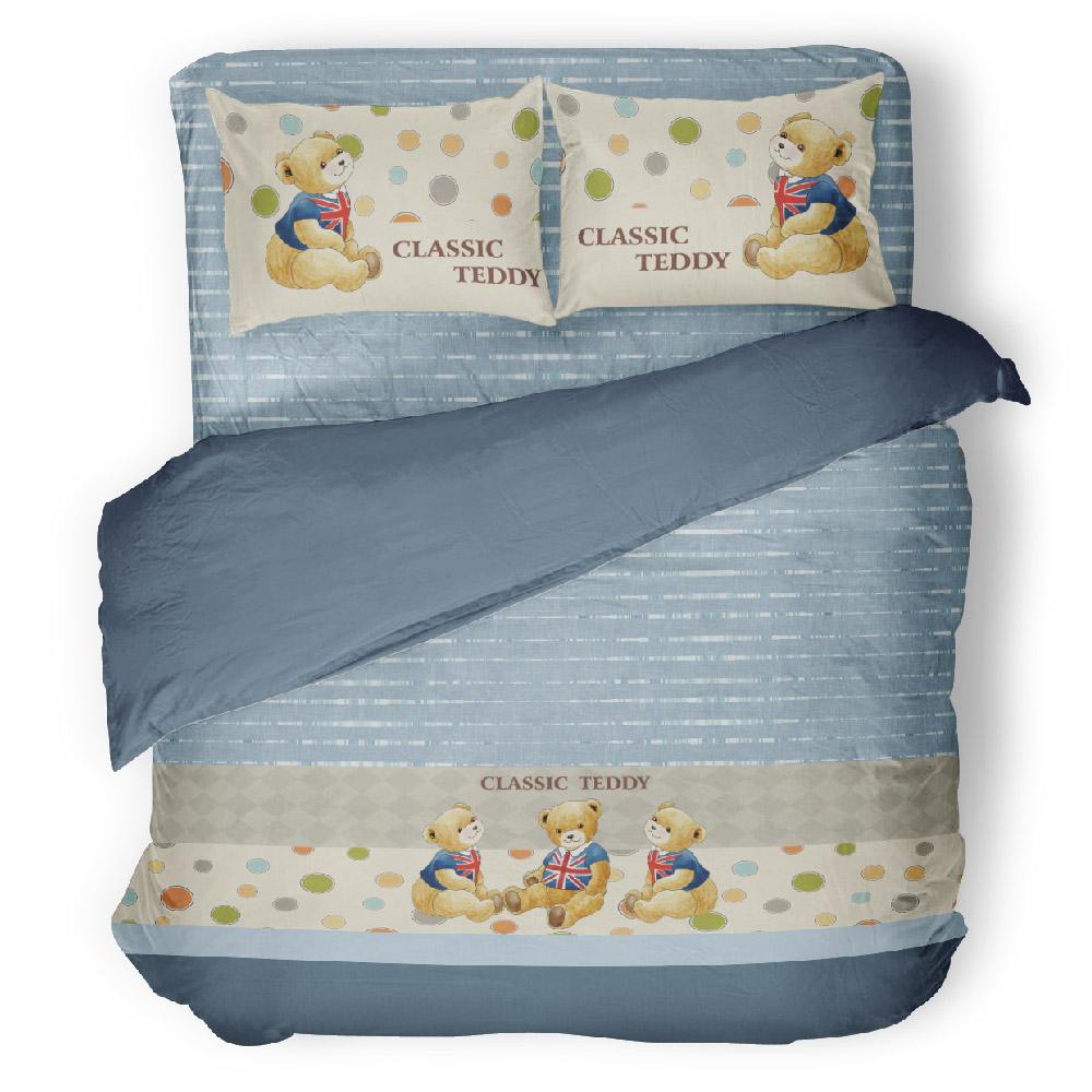 《奧斯汀純精梳美國棉》泰迪熊四件組-藍色幽默(含奈米陶瓷)