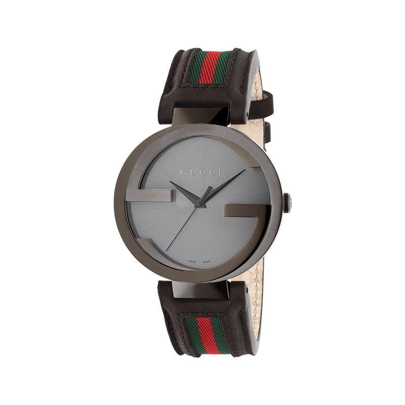 GUCCI Interlocking-G 雙G低調時尚皮帶腕錶42mm(YA133206)