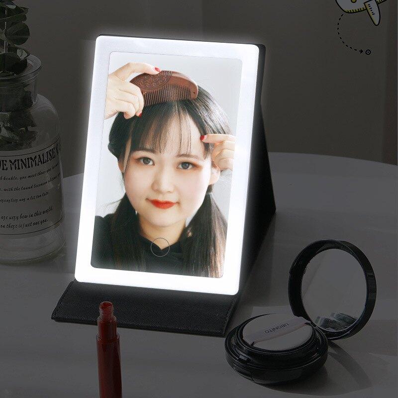 折疊LED化妝鏡 PU帶燈便攜鏡子 補光台式梳妝