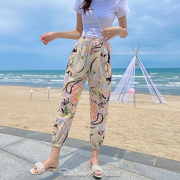泰國沙灘雪紡燈籠褲女夏寬鬆薄款束腳防蚊褲成人哈倫蘿蔔九分褲【快速出貨】
