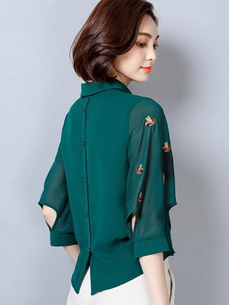 短袖襯衫 2021年新款七分袖雪紡襯衫女士時尚洋氣襯衣高端短袖上衣小衫【牛年大吉】