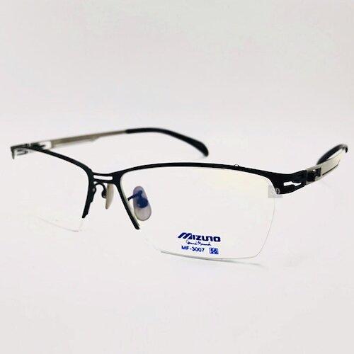 【MIZUNO】美津濃 鈦金屬 光學眼鏡鏡框 MF-3007 C15 薄鈦 半框 方形鏡框眼鏡 黑/銀 56mm