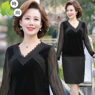 貴氣蕾絲拼接領口絲絨上衣XL-6XL-理子時尚