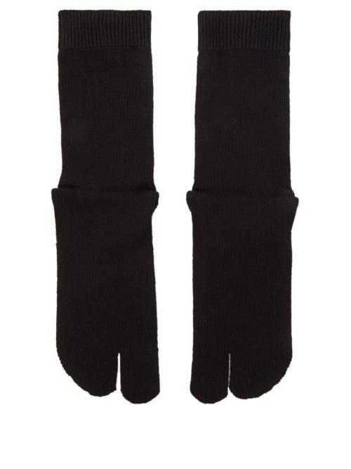 Maison Margiela - Tabi Split-toe Cotton-blend Jersey Socks - Womens - Black