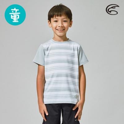 ADISI 童短袖COOLMAX沁涼條紋休閒圓領T AL2011135 淺灰