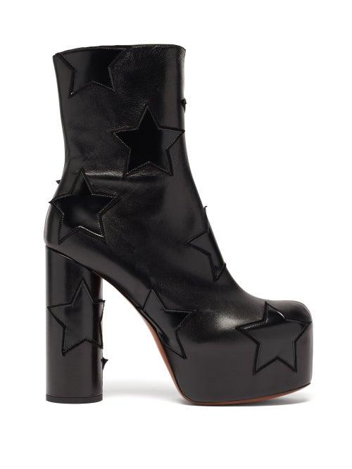 Vetements - Star-appliqué Leather Platform Boots - Womens - Black