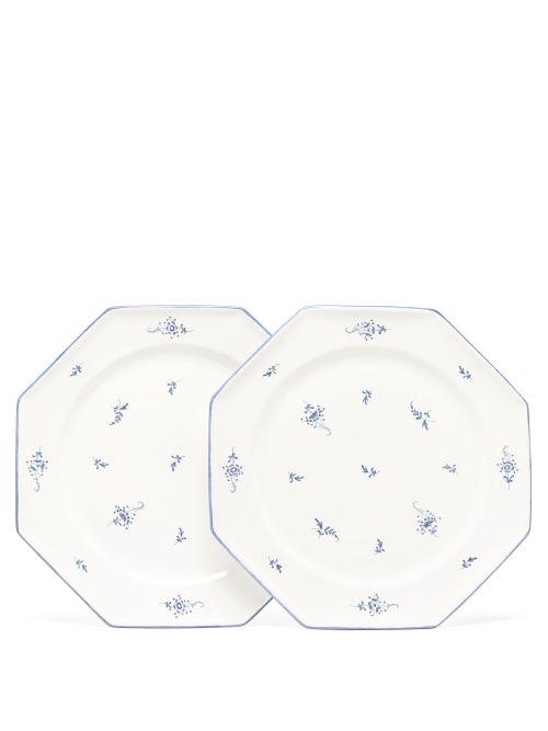 Zdg - Set Of Two Brindille Faïence-earthenware Plates - Blue Multi
