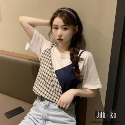 JILLI-KO 假兩件小可愛格紋拼接T恤- 深藍