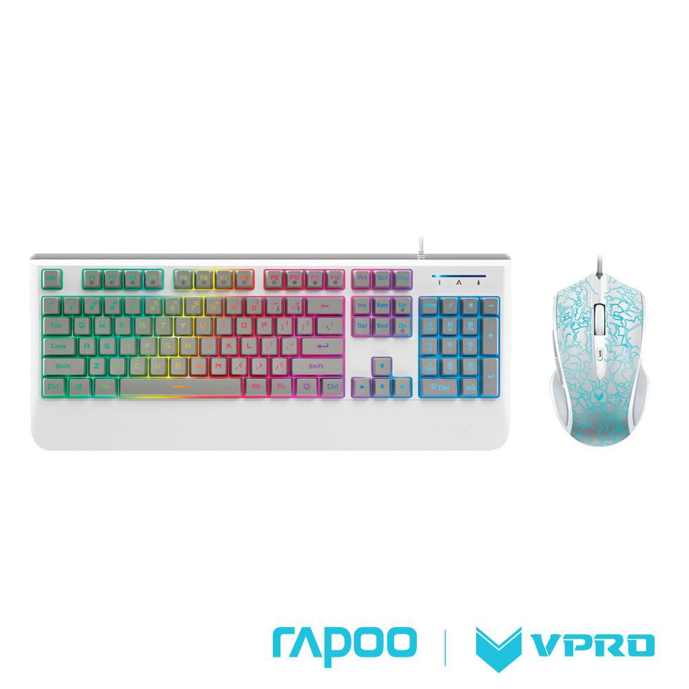 Rapoo 雷柏 VPRO V110 炫彩背光電競鍵盤滑鼠組(白) –KB475