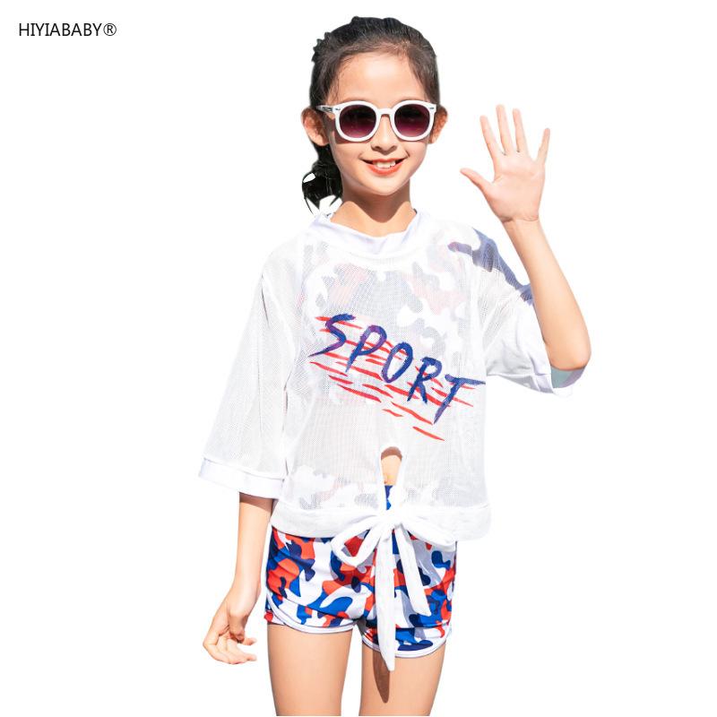 夏季新款分體跨境迷彩女童游泳衣 中大童專業運動風韓版兒童泳衣