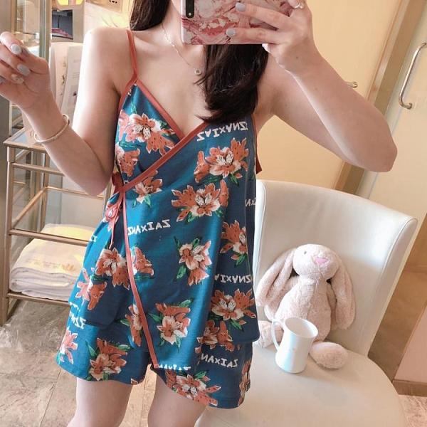日式和服睡衣女夏季純棉吊帶網紅薄款性感兩件套家居服2021年新款 韓國時尚週