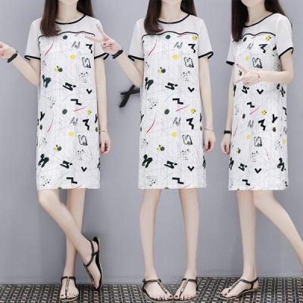 S-4XL小中大尺碼洋裝~寬松顯瘦白色雪紡印花連身裙女網紗拼接直筒裙子1F118A莎菲娜