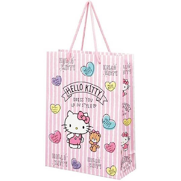 小禮堂 Hello Ktity 直式方形手提紙袋 大提袋 禮物紙袋 包裝紙袋 禮品袋 (粉 直紋) 4973307-53715