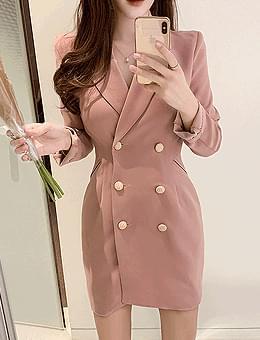 韓國空運 - Scarlet Button Jacket Mini Dress 迷你短洋裝