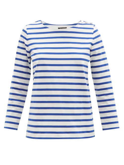 A.P.C. - Ally Striped Cotton-jersey Top - Womens - Blue White