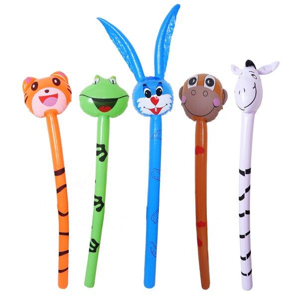 動物充氣棒 卡通造型氣球 動物造型加油棒 吹氣氣球 充氣槌 動物頭長棒 生日婚禮活動 贈品禮品