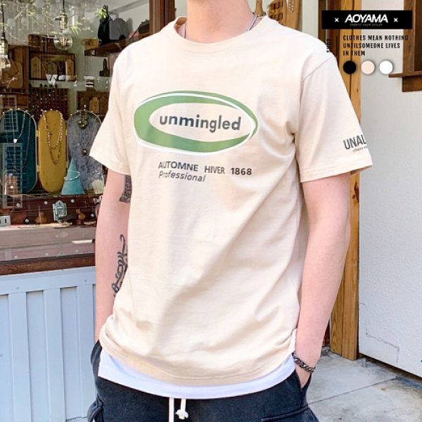 unmingled簡約基礎文字短T【C21001】寬鬆短袖 韓國 大地色 街頭 青山