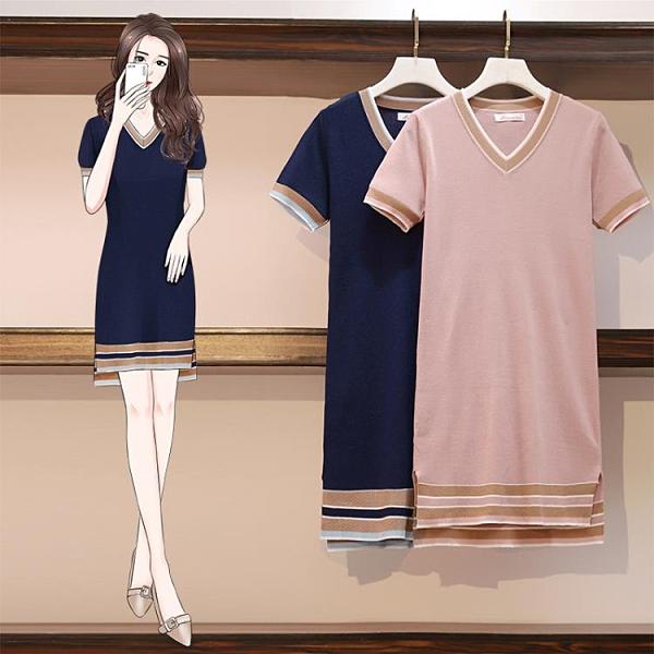 針織洋裝短袖V領連身裙M-4XL夏新款洋氣胖mm連身裙胖妹妹顯瘦裙子3F121-A.依品國際