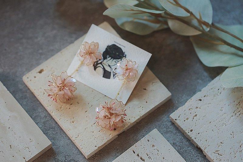 春櫻 櫻花花球垂墜式水晶花樹脂 對稱樹脂耳環一對 可改耳針耳夾