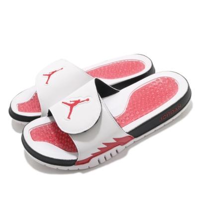 Nike 拖鞋 Jordan Hydro V Retro 男鞋 喬丹 舒適 魔鬼氈 套腳 夏日 輕便 白 紅 555501101