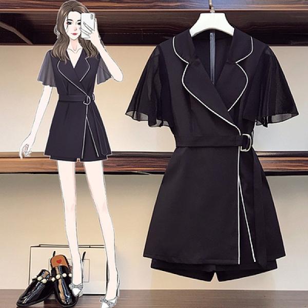 西裝裙兩件套夏季款胖妹妹大碼時尚赫本風洋氣套裝短褲3138#MR04韓衣裳