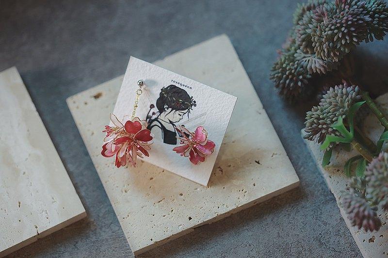 夜櫻 櫻花花球混色垂墜式水晶花 不對稱樹脂耳環 可改耳針耳夾