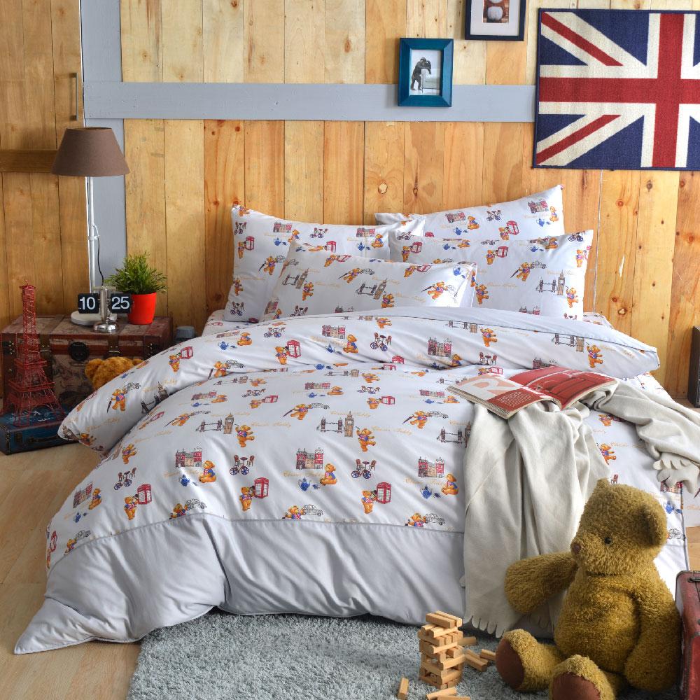 《奧斯汀純精梳美國棉》泰迪熊四件組-灰遊倫敦(含奈米陶瓷)