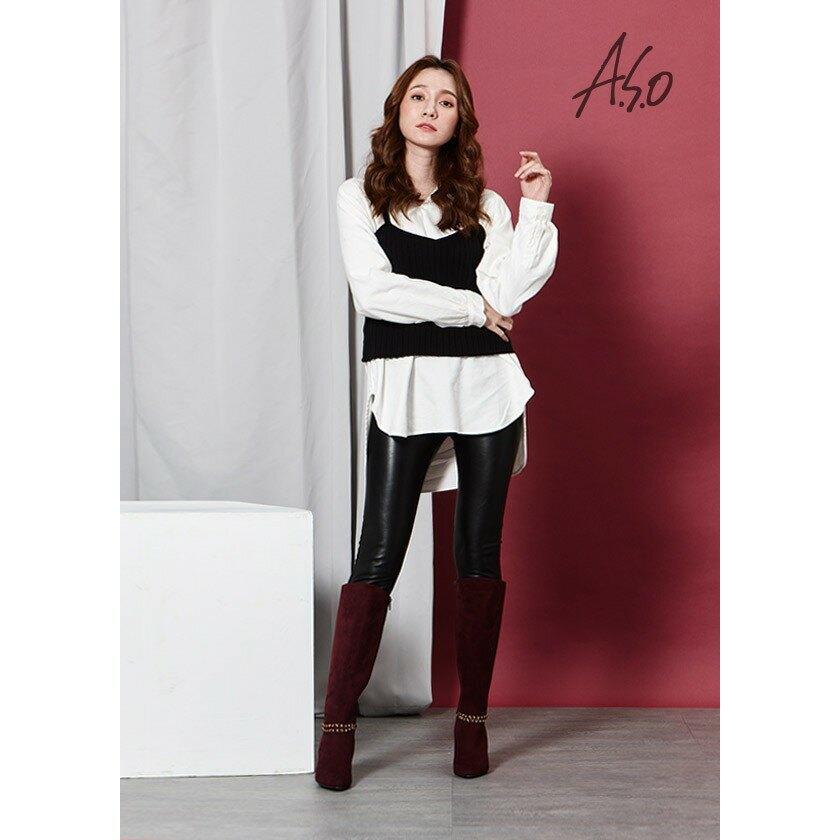 【A.S.O阿瘦】百變女伶-可拆卸金屬飾釦絨面長靴-黑色/酒紅