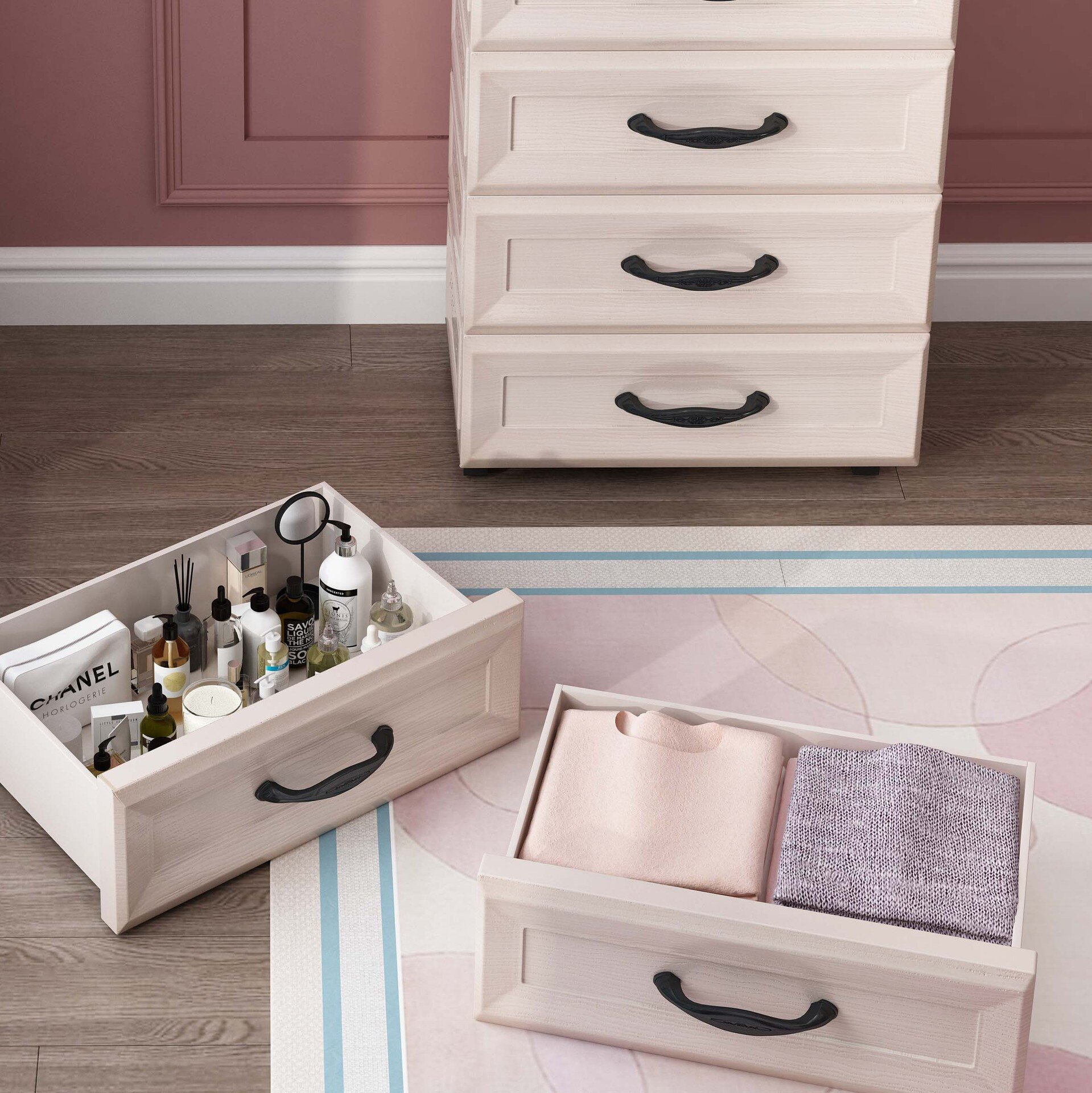 水晶化妝品托盤收納盒桌下抽屜柜子落地多層護膚品整理箱置物架化  免運【艾莎嚴選】