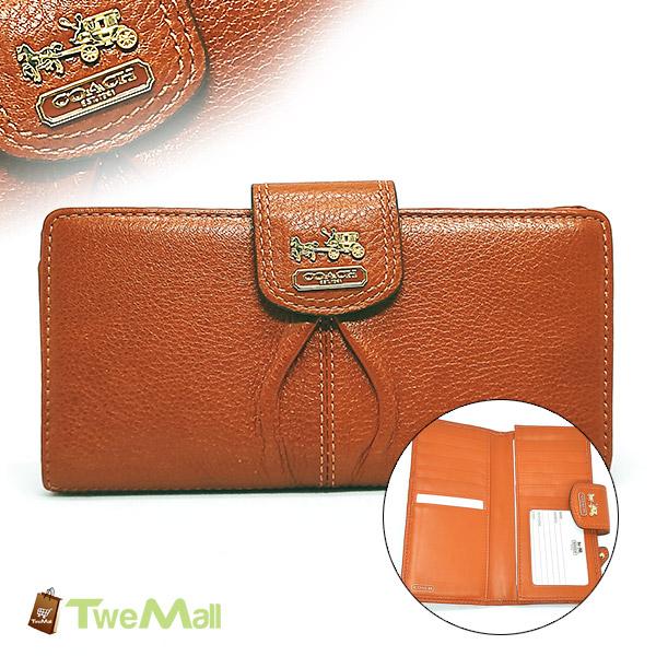 COACH皮革馬車LOGO壓扣雙折長夾/皮夾(橘紅)