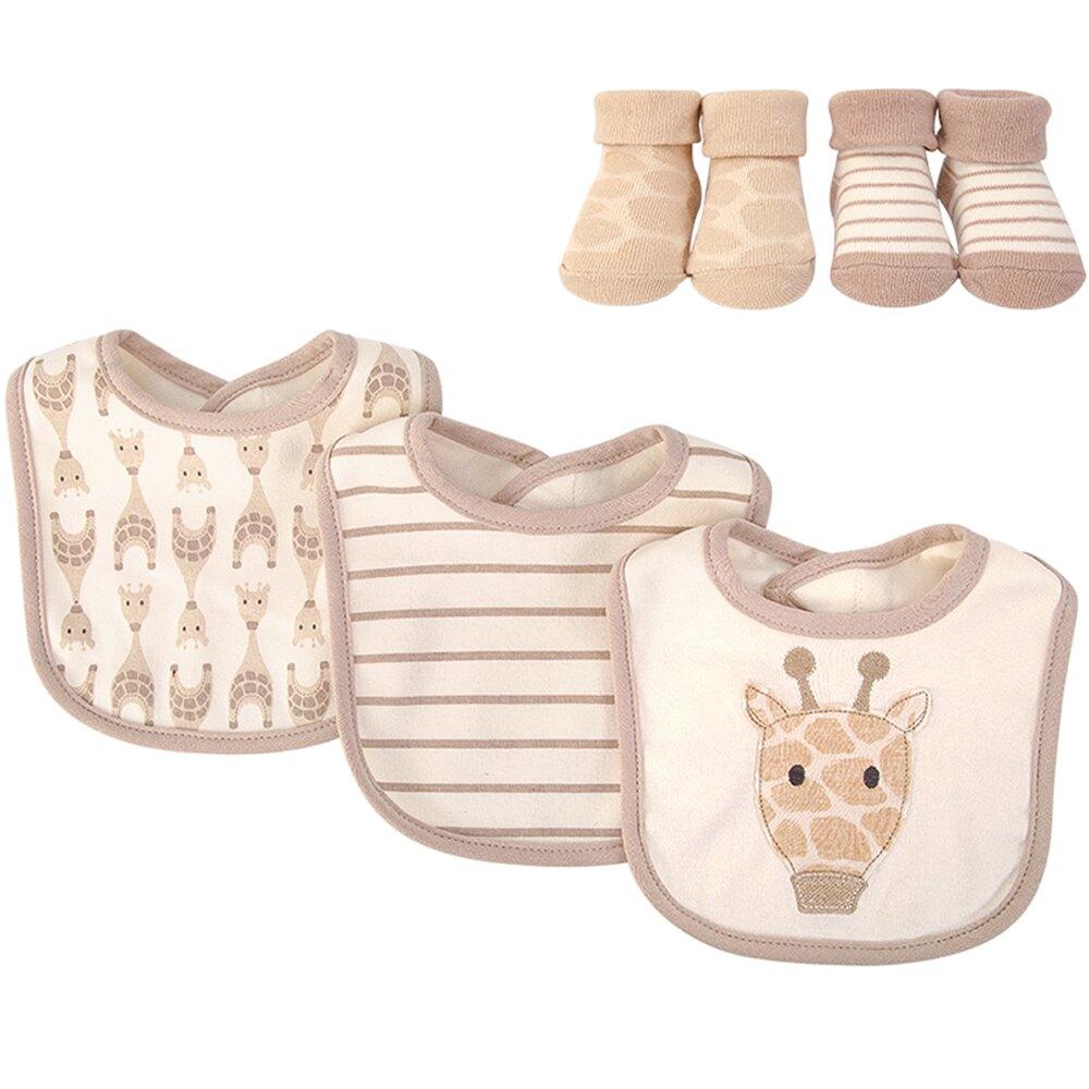 美國 luvable friends  嬰幼兒吸水口水巾圍兜與短襪組_可可長頸鹿(LF56228)